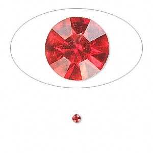 chaton, glass rhinestone, light siam, foil back, 2.4-2.5mm faceted round, pp18. sold per pkg of 72.