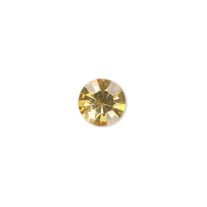 chaton, glass rhinestone, light topaz, foil back, 9.9-10.2mm faceted round, ss45. sold per pkg of 4.