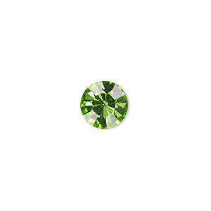 chaton, glass rhinestone, olivine, foil back, 9.9-10.2mm faceted round, ss45. sold per pkg of 4.