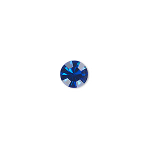chaton, glass rhinestone, sapphire blue, foil back, 7.93-8.16mm faceted round, ss38. sold per pkg of 12.