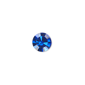 chaton, glass rhinestone, sapphire blue, foil back, 9.9-10.2mm faceted round, ss45. sold per pkg of 4.