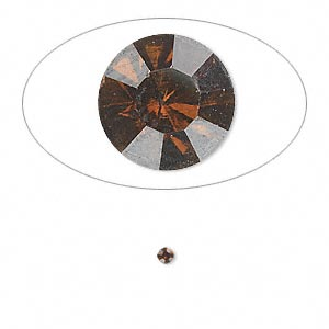 chaton, glass rhinestone, smoky topaz, foil back, 2.1-2.2mm faceted round, pp15. sold per pkg of 72.
