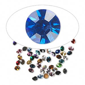 chaton mix, glass rhinestone, mixed colors, foil back, 1.4-1.5mm faceted round, pp8. sold per pkg of 72.