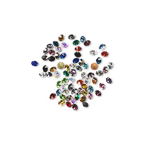 chaton mix, glass rhinestone, mixed colors, foil back, 1.8-1.9mm faceted round, pp12. sold per pkg of 72.