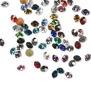 chaton mix, glass rhinestone, mixed colors, foil back, 1.9-2.0mm faceted round, pp13. sold per pkg of 72.