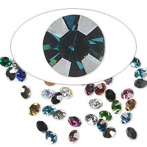 chaton mix, glass rhinestone, mixed colors, foil back, 2.0-2.1mm faceted round, pp14. sold per pkg of 72.