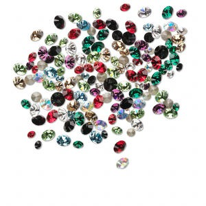 chaton mix, swarovski crystal rhinestone, mixed colors, foil back, 2.5-4mm xilion round (1028). sold per 5-gram pkg, approximately 240-260 chatons.