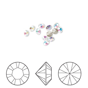chaton, swarovski crystal rhinestone, crystal ab, foil back, 2.8-2.9mm xilion round (1028), pp22. sold per pkg of 12.