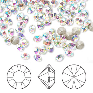 chaton, swarovski crystal rhinestone, crystal ab, foil back, 4-4.1mm xilion round (1028), pp32. sold per pkg of 12.