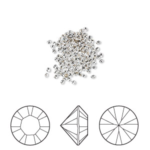 chaton, swarovski crystal rhinestone, crystal clear, foil back, 1.3-1.35mm xilion round (1028), pp6. sold per pkg of 1,440 (10 gross).