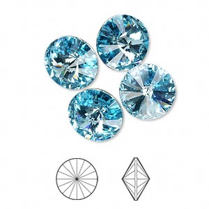 chaton, swarovski crystal rhinestone, crystal passions, aquamarine, foil back, 12mm faceted rivoli (1122). sold per pkg of 48.