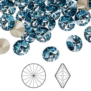 chaton, swarovski crystal rhinestone, crystal passions, aquamarine, foil back, 8.16-8.41mm faceted rivoli (1122), ss39. sold per pkg of 48.