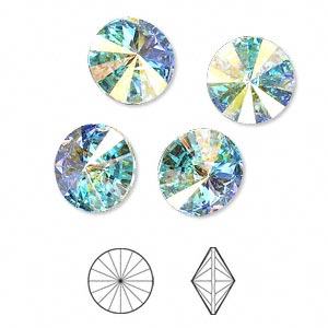 chaton, swarovski crystal rhinestone, crystal passions, crystal ab, foil back, 12mm faceted rivoli (1122). sold per pkg of 48.