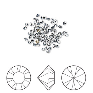 chaton, swarovski crystal rhinestone, crystal passions, crystal blue shade, foil back, 1.7-1.8mm xilion round (1028), pp11. sold per pkg of 144 (1 gross).