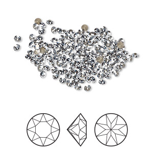 chaton, swarovski crystal rhinestone, crystal passions, crystal blue shade, foil back, 2-2.1mm xirius round (1088), pp14. sold per pkg of 12.