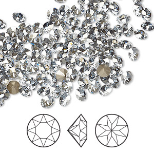 chaton, swarovski crystal rhinestone, crystal passions, crystal blue shade, foil back, 4-4.1mm xirius round (1088), pp32. sold per pkg of 144 (1 gross).