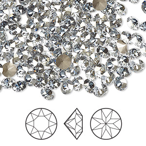 chaton, swarovski crystal rhinestone, crystal passions, crystal blue shade, foil back, 4.4-4.6mm xirius round (1088), ss19. sold per pkg of 144 (1 gross).