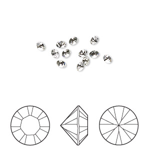 chaton, swarovski crystal rhinestone, crystal passions, crystal clear, 2.8-2.9mm xilion round (1028), pp22. sold per pkg of 12.