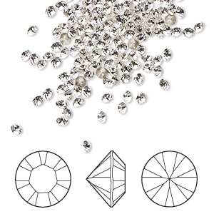 chaton, swarovski crystal rhinestone, crystal passions, crystal clear, foil back, 2.4-2.5mm xilion round (1028), pp18. sold per pkg of 144 (1 gross).