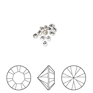 chaton, swarovski crystal rhinestone, crystal passions, crystal clear, foil back, 2.4-2.5mm xilion round (1028), pp18. sold per pkg of 12.