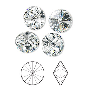 chaton, swarovski crystal rhinestone, crystal passions, crystal clear, foil back, 12mm faceted rivoli (1122). sold per pkg of 4.