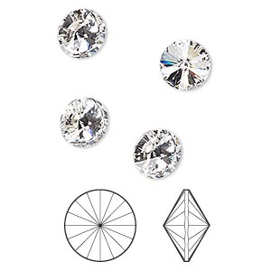 chaton, swarovski crystal rhinestone, crystal passions, crystal clear, foil back, 8.16-8.41mm faceted rivoli (1122), ss39. sold per pkg of 4.