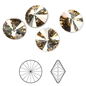 chaton, swarovski crystal rhinestone, crystal passions, crystal golden shadow, foil back, 12mm faceted rivoli (1122). sold per pkg of 4.