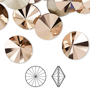 chaton, swarovski crystal rhinestone, crystal passions, crystal rose gold, foil back, 14mm faceted rivoli (1122). sold per pkg of 4.