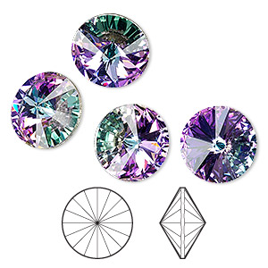 chaton, swarovski crystal rhinestone, crystal passions, crystal vitrail light, foil back, 14mm faceted rivoli (1122). sold per pkg of 4.