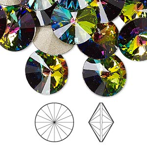 chaton, swarovski crystal rhinestone, crystal passions, crystal vitrail medium, foil back, 14mm faceted rivoli (1122). sold per pkg of 48.