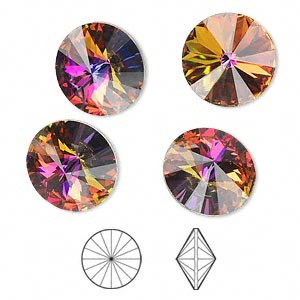 chaton, swarovski crystal rhinestone, crystal passions, crystal volcano, foil back, 14mm faceted rivoli (1122). sold per pkg of 4.