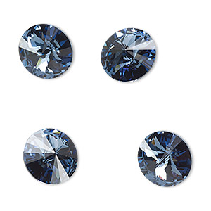 chaton, swarovski crystal rhinestone, crystal passions, denim blue, foil back, 12mm faceted rivoli (1122). sold per pkg of 48.