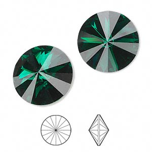 chaton, swarovski crystal rhinestone, crystal passions, emerald, foil back, 18mm faceted rivoli (1122). sold per pkg of 36.