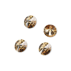 chaton, swarovski crystal rhinestone, crystal passions, light colorado topaz, foil back, 8.16-8.41mm faceted rivoli (1122), ss39. sold per pkg of 4.