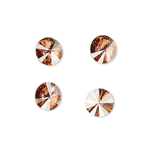 chaton, swarovski crystal rhinestone, crystal passions, light rose golden shadow, foil back, 8.16-8.41mm faceted rivoli (1122), ss39. sold per pkg of 48.
