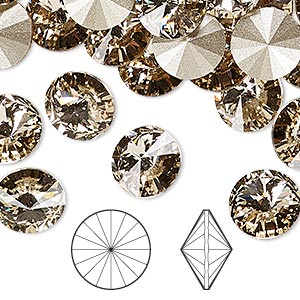 chaton, swarovski crystal rhinestone, crystal passions, light silk, foil back, 10.54-10.91mm faceted rivoli (1122), ss47. sold per pkg of 4.