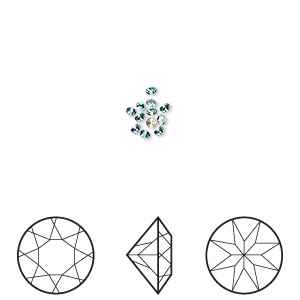 chaton, swarovski crystal rhinestone, crystal passions, light turquoise, foil back, 1.6-1.7mm xilion round (1028), pp10. sold per pkg of 12.