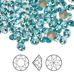 chaton, swarovski crystal rhinestone, crystal passions, light turquoise, foil back, 5.27-5.44mm xirius round (1088), ss24. sold per pkg of 12.