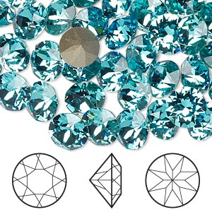 chaton, swarovski crystal rhinestone, crystal passions, light turquoise, foil back, 8.16-8.41mm xirius round (1088), ss39. sold per pkg of 4.