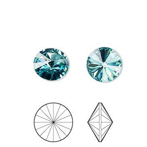 chaton, swarovski crystal rhinestone, crystal passions, light turquoise, foil back, 10.54-10.91mm faceted rivoli (1122), ss47. sold per pkg of 48.