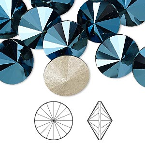 chaton, swarovski crystal rhinestone, crystal passions, metallic blue, foil back, 14mm faceted rivoli (1122). sold per pkg of 4.