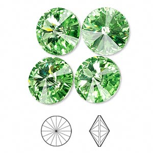 chaton, swarovski crystal rhinestone, crystal passions, peridot, foil back, 14mm faceted rivoli (1122). sold per pkg of 4.