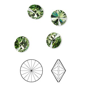 chaton, swarovski crystal rhinestone, crystal passions, peridot, foil back, 8.16-8.41mm faceted rivoli (1122), ss39. sold per pkg of 4.