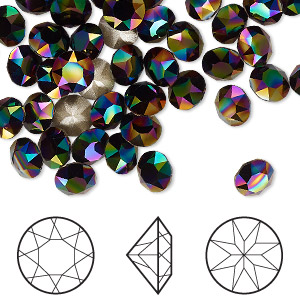 chaton, swarovski crystal rhinestone, crystal passions, rainbow dark, foil back, 6.14-6.32mm xirius round (1088), ss29. sold per pkg of 144 (1 gross).