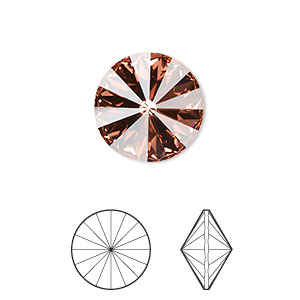 chaton, swarovski crystal rhinestone, crystal passions, rose peach, foil back, 14mm faceted rivoli (1122). sold per pkg of 4.