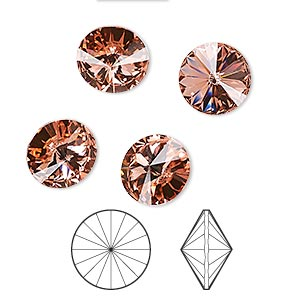 chaton, swarovski crystal rhinestone, crystal passions, rose peach, foil back, 10.54-10.91mm faceted rivoli (1122), ss47. sold per pkg of 4.