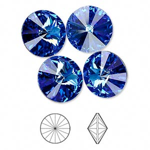 chaton, swarovski crystal rhinestone, crystal passions, sapphire, foil back, 14mm faceted rivoli (1122). sold per pkg of 48.
