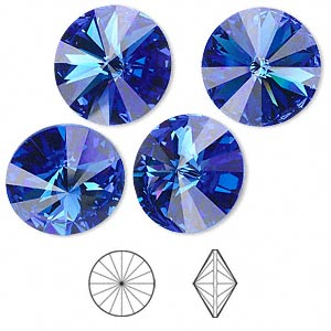 chaton, swarovski crystal rhinestone, crystal passions, sapphire, foil back, 16mm faceted rivoli (1122). sold per pkg of 4.