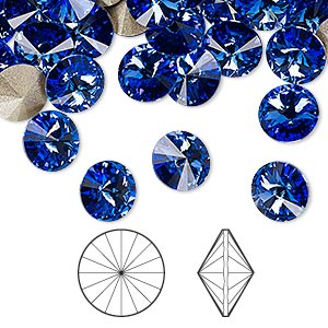 chaton, swarovski crystal rhinestone, crystal passions, sapphire, foil back, 8.16-8.41mm faceted rivoli (1122), ss39. sold per pkg of 48.