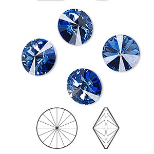 chaton, swarovski crystal rhinestone, crystal passions, sapphire, foil back, 10.54-10.91mm faceted rivoli (1122), ss47. sold per pkg of 4.